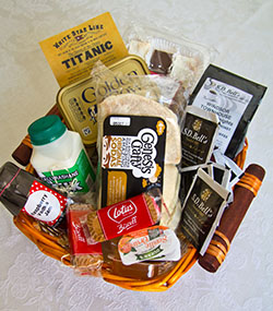 A welcome hamper of locally sourced goods awaits you at Windsor Townhouse self catering Belfast
